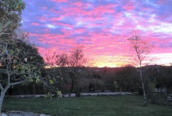 Sunrise at Les Hiboux gites with swimming pool