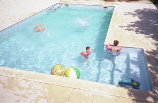 swimming pool at holiday gite self catering cottage les hiboux, Poitou Charentes, France