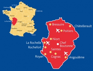 Location of Les Hiboux holiday gite with pool near La Rochelle